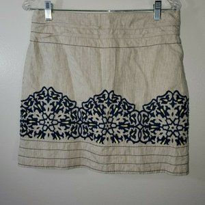 Anthropologie Floreat  Size 6 Skirt Embroidered